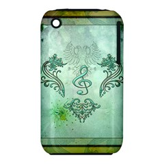 Music, Decorative Clef With Floral Elements Iphone 3s/3gs