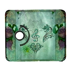 Music, Decorative Clef With Floral Elements Galaxy S3 (flip/folio) by FantasyWorld7