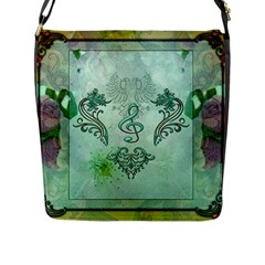 Music, Decorative Clef With Floral Elements Flap Messenger Bag (l)