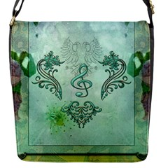 Music, Decorative Clef With Floral Elements Flap Messenger Bag (s)