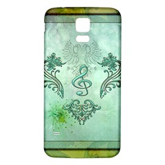 Music, Decorative Clef With Floral Elements Samsung Galaxy S5 Back Case (white)
