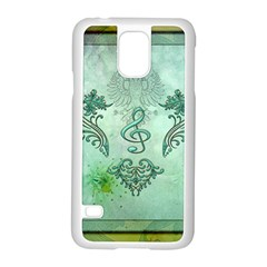 Music, Decorative Clef With Floral Elements Samsung Galaxy S5 Case (white)