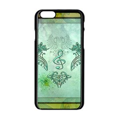 Music, Decorative Clef With Floral Elements Apple Iphone 6/6s Black Enamel Case