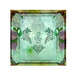 Music, Decorative Clef With Floral Elements Small Satin Scarf (square)