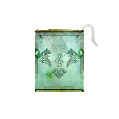 Music, Decorative Clef With Floral Elements Drawstring Pouches (xs)