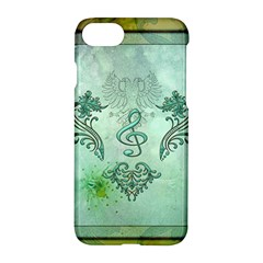 Music, Decorative Clef With Floral Elements Apple Iphone 7 Hardshell Case
