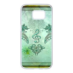 Music, Decorative Clef With Floral Elements Samsung Galaxy S7 Edge White Seamless Case