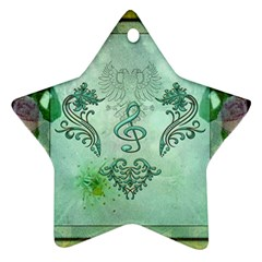 Music, Decorative Clef With Floral Elements Ornament (star)