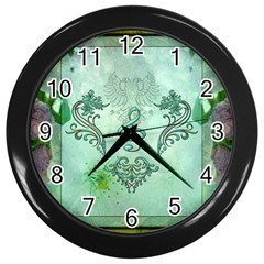 Music, Decorative Clef With Floral Elements Wall Clocks (black)