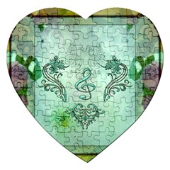 Music, Decorative Clef With Floral Elements Jigsaw Puzzle (heart)