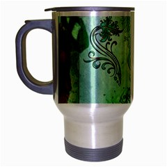 Music, Decorative Clef With Floral Elements Travel Mug (silver Gray)
