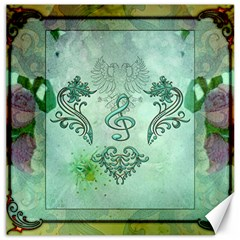 Music, Decorative Clef With Floral Elements Canvas 12  X 12