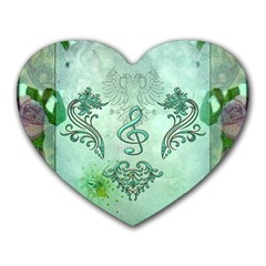 Music, Decorative Clef With Floral Elements Heart Mousepads