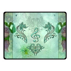 Music, Decorative Clef With Floral Elements Fleece Blanket (small)