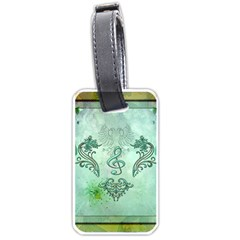 Music, Decorative Clef With Floral Elements Luggage Tags (two Sides)
