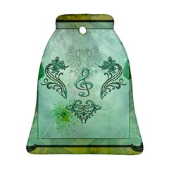 Music, Decorative Clef With Floral Elements Bell Ornament (two Sides)