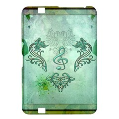 Music, Decorative Clef With Floral Elements Kindle Fire Hd 8 9