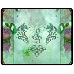 Music, Decorative Clef With Floral Elements Double Sided Fleece Blanket (medium)