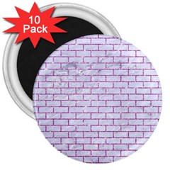 Brick1 White Marble & Purple Glitter (r) 3  Magnets (10 Pack)