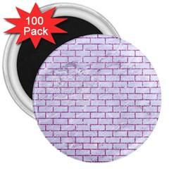 Brick1 White Marble & Purple Glitter (r) 3  Magnets (100 Pack)