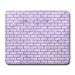 Brick1 White Marble & Purple Glitter (r) Large Mousepads