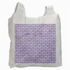 Brick1 White Marble & Purple Glitter (r) Recycle Bag (two Side)