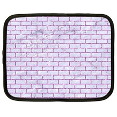 Brick1 White Marble & Purple Glitter (r) Netbook Case (xl)