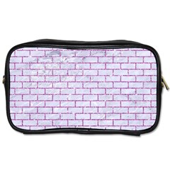 Brick1 White Marble & Purple Glitter (r) Toiletries Bags