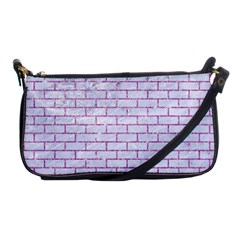 Brick1 White Marble & Purple Glitter (r) Shoulder Clutch Bags
