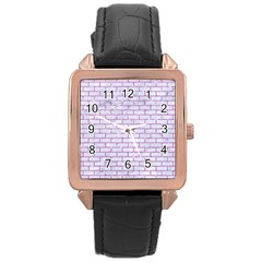 Brick1 White Marble & Purple Glitter (r) Rose Gold Leather Watch