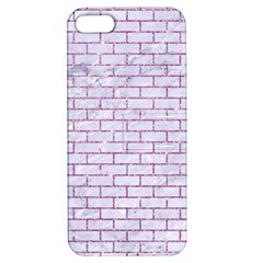 Brick1 White Marble & Purple Glitter (r) Apple Iphone 5 Hardshell Case With Stand