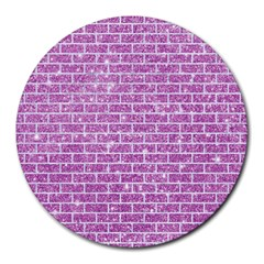 Brick1 White Marble & Purple Glitter Round Mousepads
