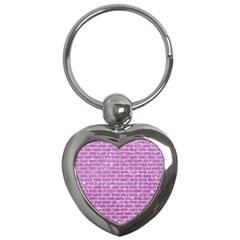 Brick1 White Marble & Purple Glitter Key Chains (heart)  by trendistuff