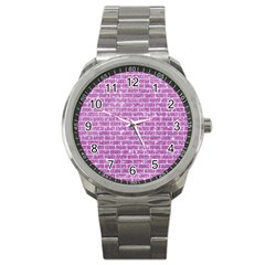 Brick1 White Marble & Purple Glitter Sport Metal Watch