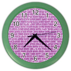 Brick1 White Marble & Purple Glitter Color Wall Clocks