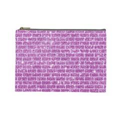 Brick1 White Marble & Purple Glitter Cosmetic Bag (large)