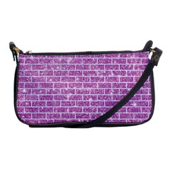 Brick1 White Marble & Purple Glitter Shoulder Clutch Bags