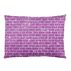 Brick1 White Marble & Purple Glitter Pillow Case (two Sides)
