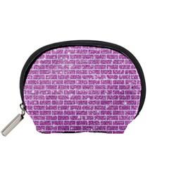 Brick1 White Marble & Purple Glitter Accessory Pouches (small)