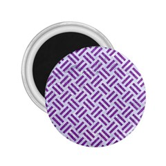 Woven2 White Marble & Purple Denim (r) 2 25  Magnets