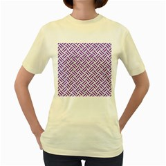 Woven2 White Marble & Purple Denim (r) Women s Yellow T Shirt