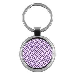 Woven2 White Marble & Purple Denim (r) Key Chains (round)