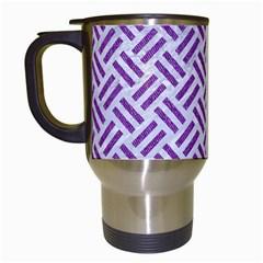 Woven2 White Marble & Purple Denim (r) Travel Mugs (white)