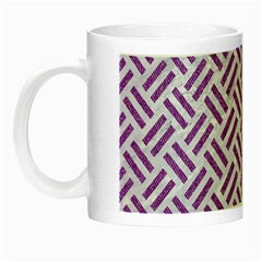 Woven2 White Marble & Purple Denim (r) Night Luminous Mugs