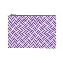 Woven2 White Marble & Purple Denim (r) Cosmetic Bag (large)