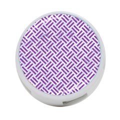 Woven2 White Marble & Purple Denim (r) 4 Port Usb Hub (one Side)