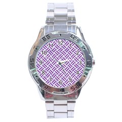 Woven2 White Marble & Purple Denim (r) Stainless Steel Analogue Watch by trendistuff