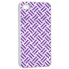 Woven2 White Marble & Purple Denim (r) Apple Iphone 4/4s Seamless Case (white) by trendistuff
