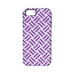 Woven2 White Marble & Purple Denim (r) Apple Iphone 5 Classic Hardshell Case (pc+silicone)