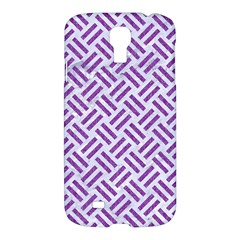 Woven2 White Marble & Purple Denim (r) Samsung Galaxy S4 I9500/i9505 Hardshell Case